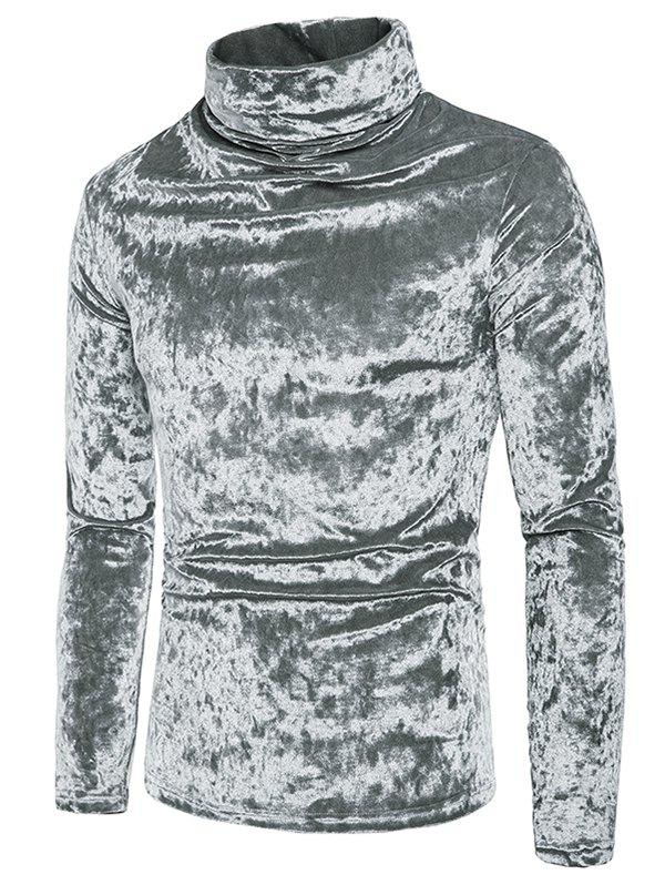Online Metallic Velour Long Sleeves Shirt