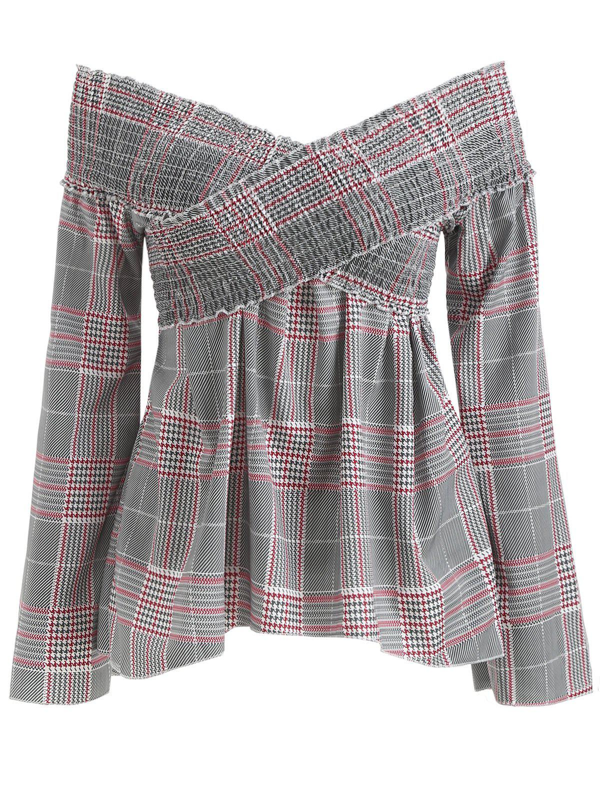 Trendy Off The Shoulder Smocked Plaid Blouse