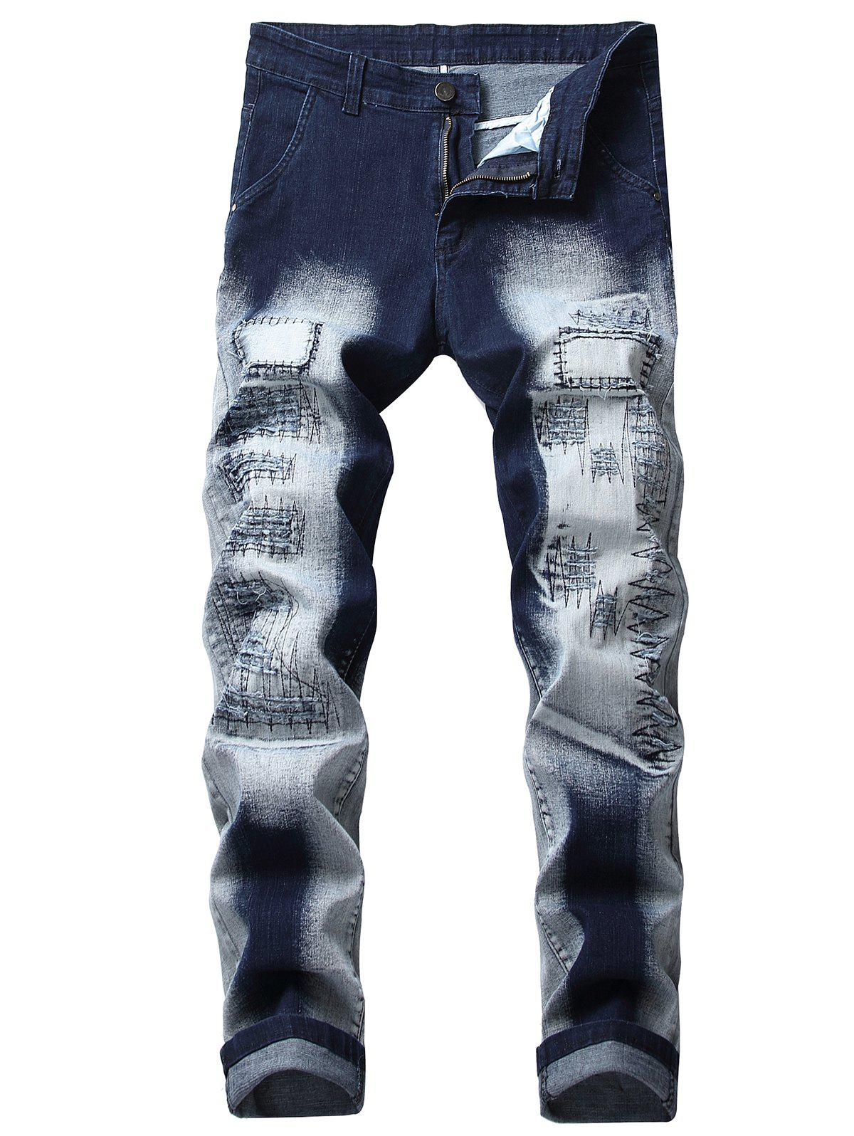 Trendy Long Bleach Wash Patchworks Jeans