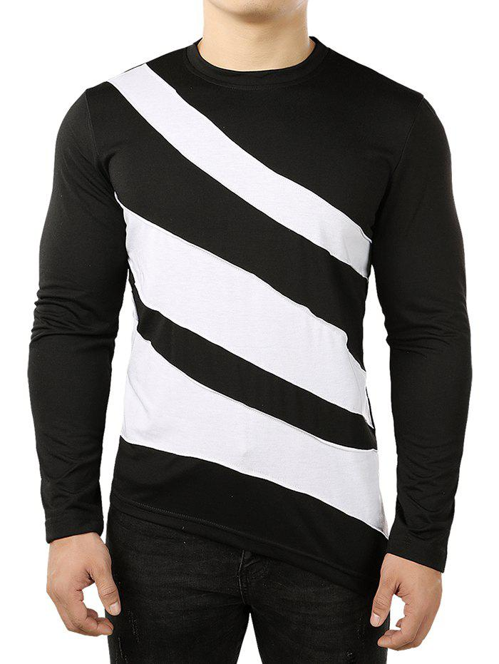 Latest Asymmetric Color Block Striped Shirt