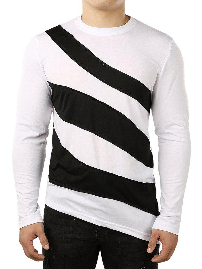 Online Asymmetric Color Block Striped Shirt