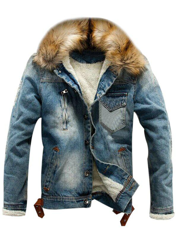 Outfit Faux Fur Hooded Button Fly Fleece Denim Jacket