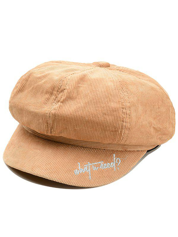 Affordable Letter Embroidery Corduroy Newsboy Cap