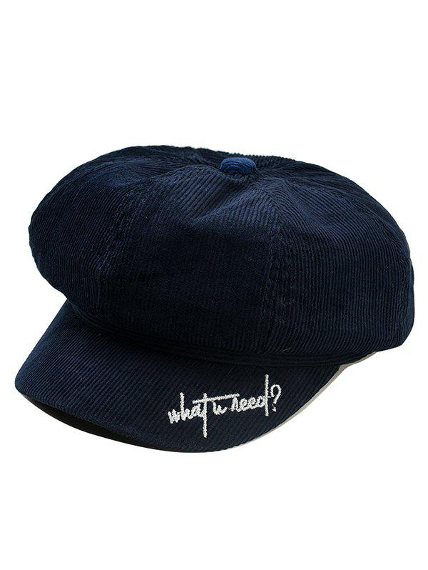 Unique Letter Embroidery Corduroy Newsboy Cap