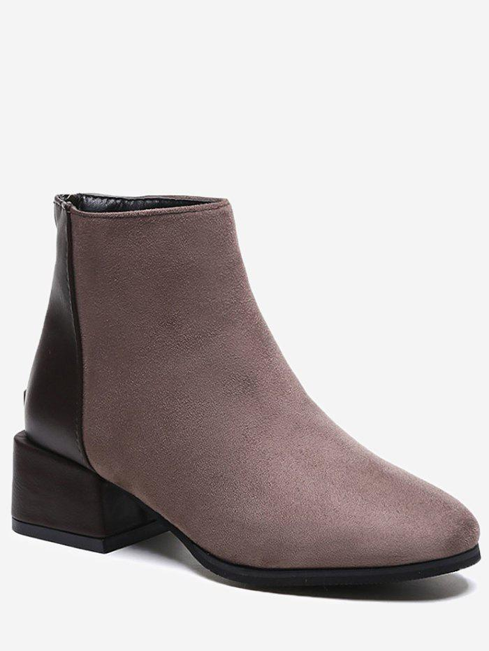 Latest Contrast Color Suede Ankle Boots