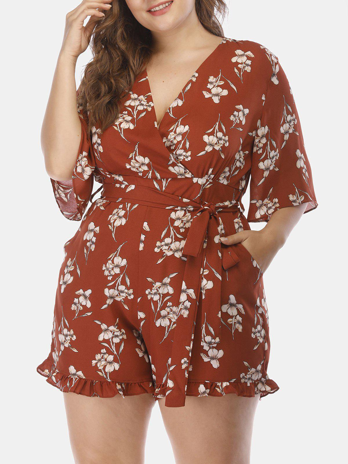 8c0c78bef8c9 2019 Plus Size Pockets Floral Surplice Romper With Ruffles