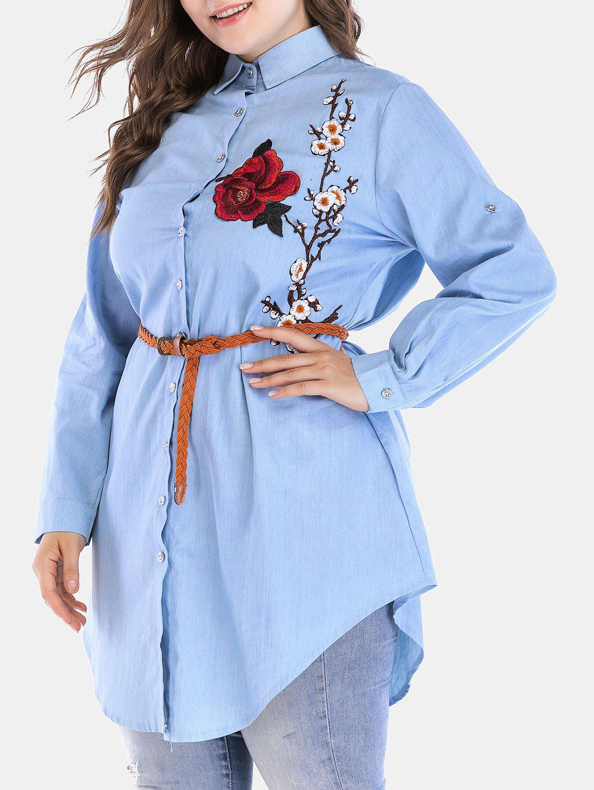 Fashion Plus Size Longline Chambray Shirt with Embroidered