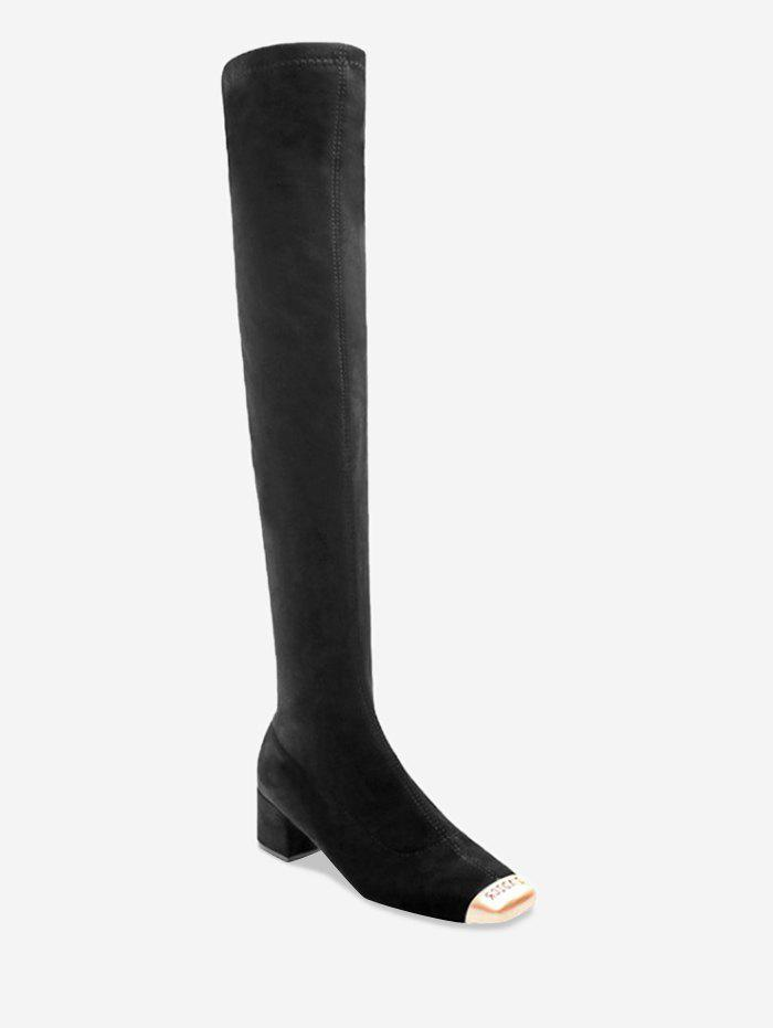 Fancy Contrast Square Toe Thigh High Boots
