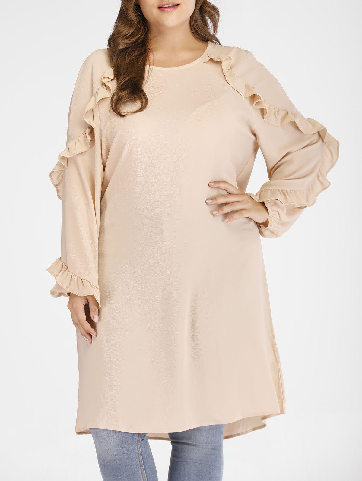 Discount Plus Size Raglan Sleeves Dress with Ruffles