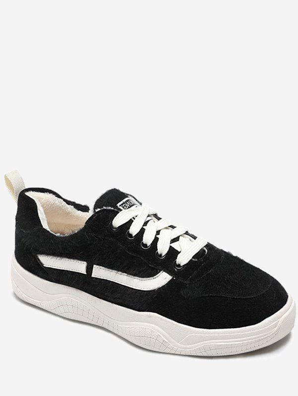 Affordable Stripe Print Fuzzy Lace Up Sneakers