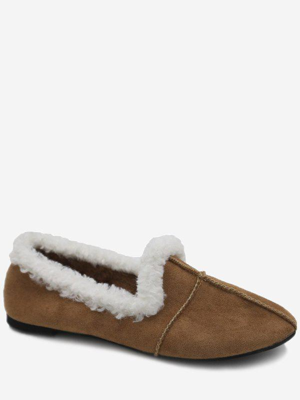 Cheap Faux Fur Trim Suede Loafer Flats