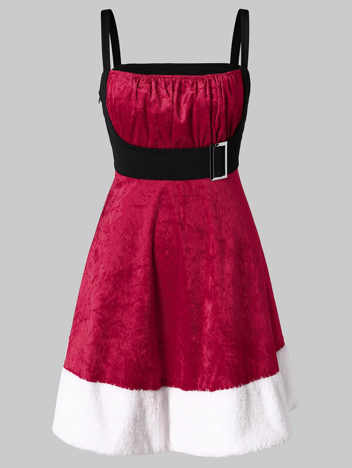 Chic Christmas Plus Size Velvet Mini Santa Claus Dress