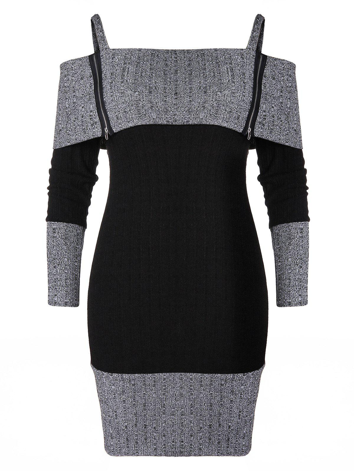 Online Plus Size Cami Zip Two Tone Knitted Bodycon Dress
