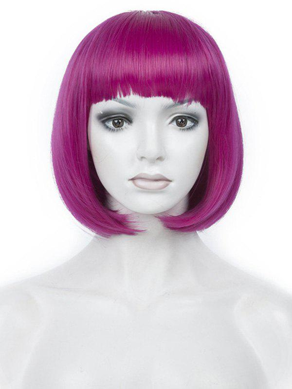 Hot Short Full Bang Colorful Straight Bob Party Synthetic Wig