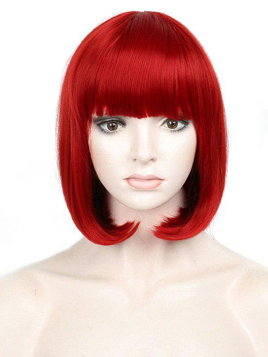 Latest Short Full Bang Colorful Straight Bob Party Synthetic Wig