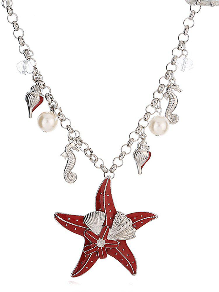 Latest Starfish Shape Faux Pearl Chain Necklace
