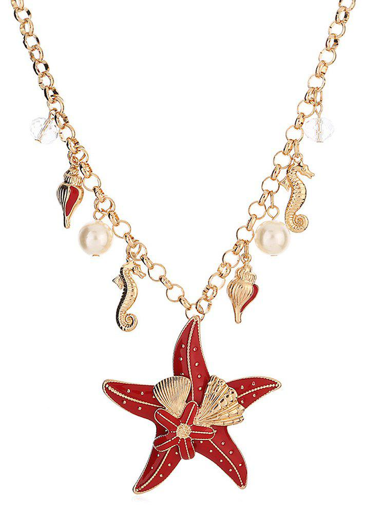 Hot Starfish Shape Faux Pearl Chain Necklace