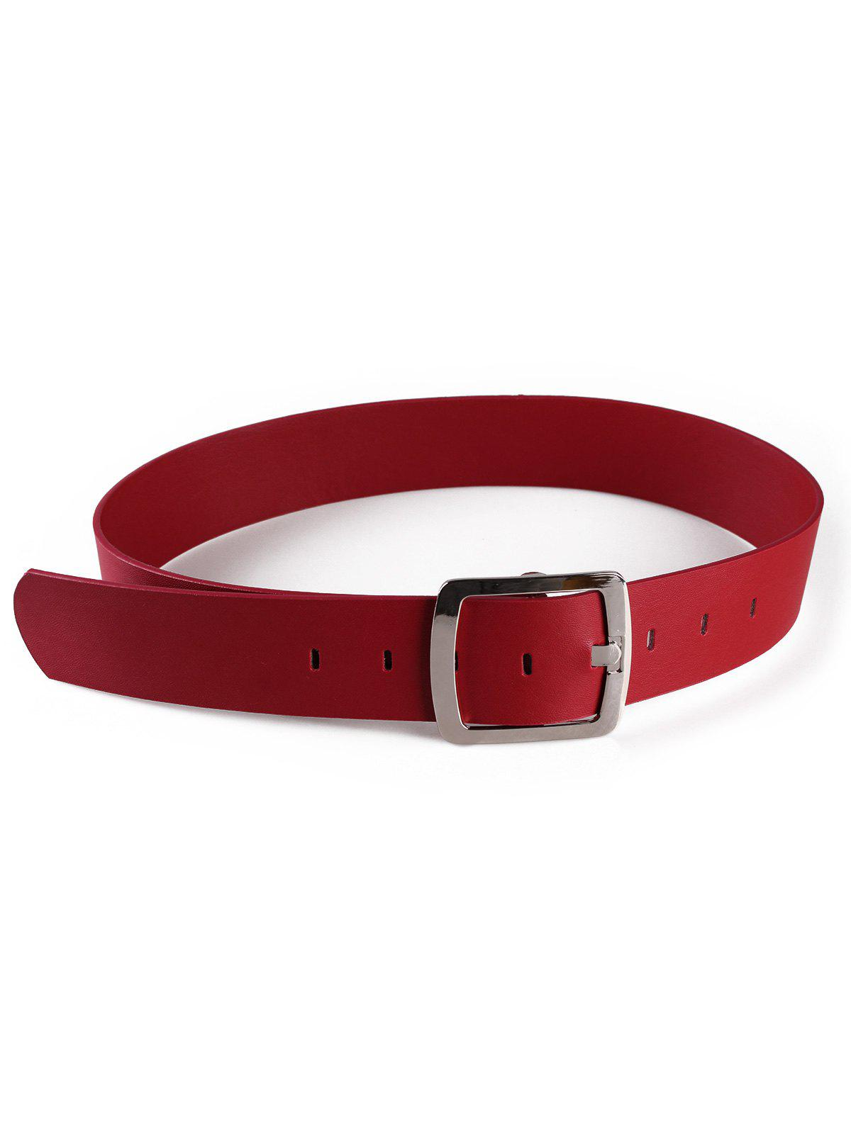 New Metal Square Buckle Faux Leather Waist Belt