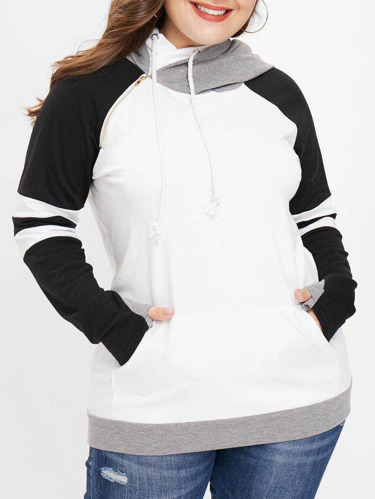 New Striped Panel Plus Size Drawstring Hoodie