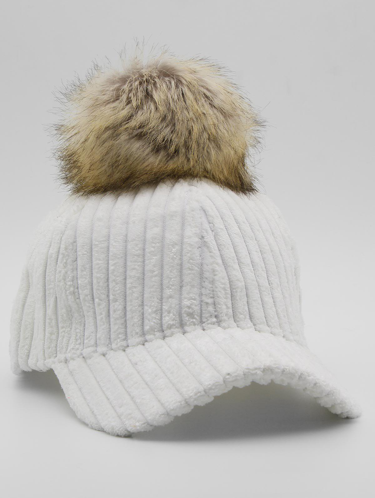 Cheap Winter Striped Pom Pom Baseball Cap