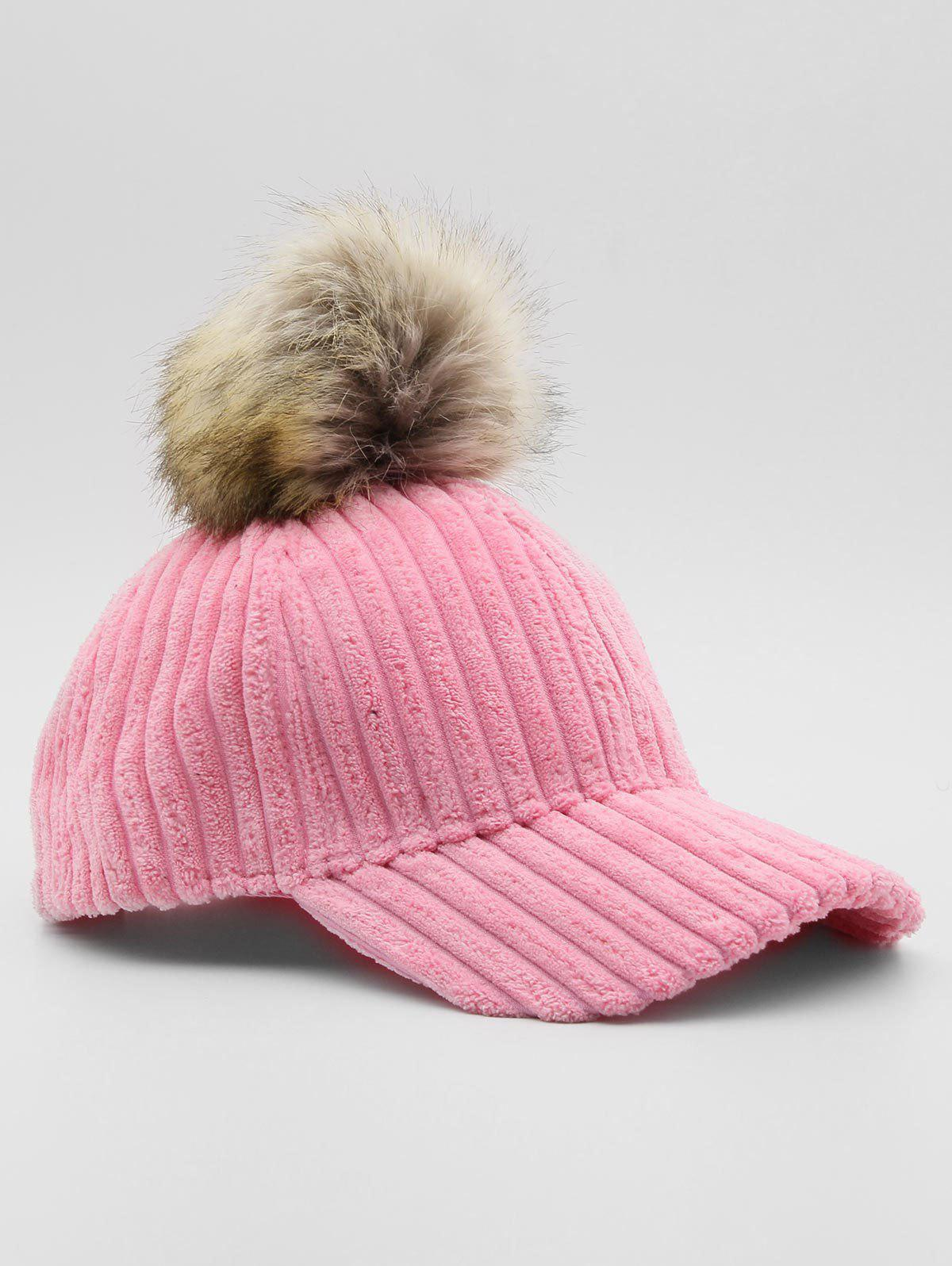 Store Winter Striped Pom Pom Baseball Cap