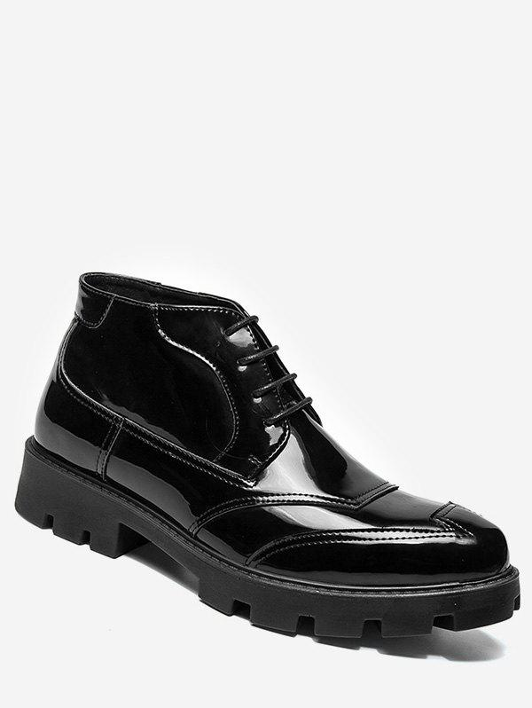 Buy Patent Leather Sewing Ankle Boots