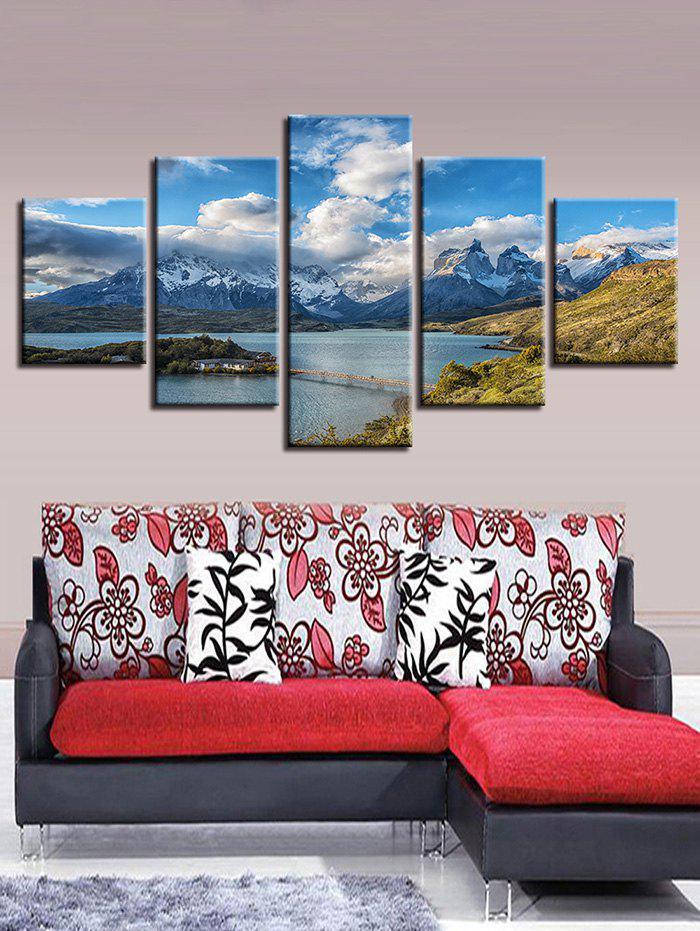 Online Snow Mountain Lake Print Split Unframed Canvas Paintings