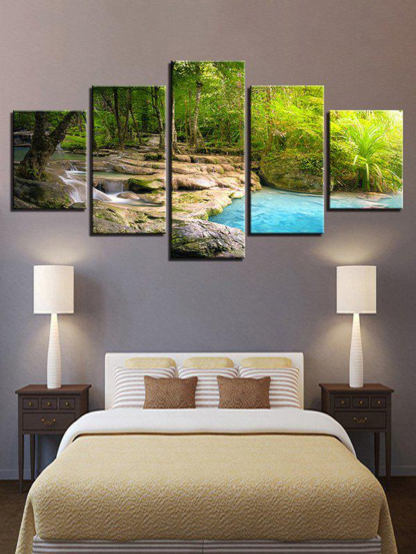 Cheap Tree Brook Print Split Unframed Canvas Paintings