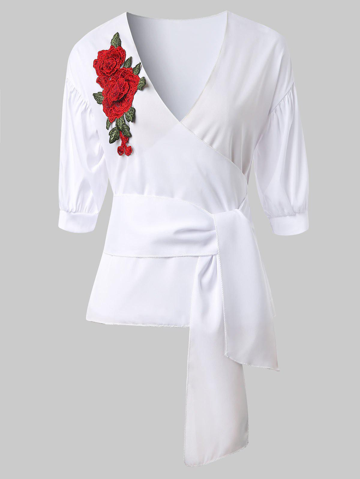 Fancy Flower Embroidered Belted Surplice Top