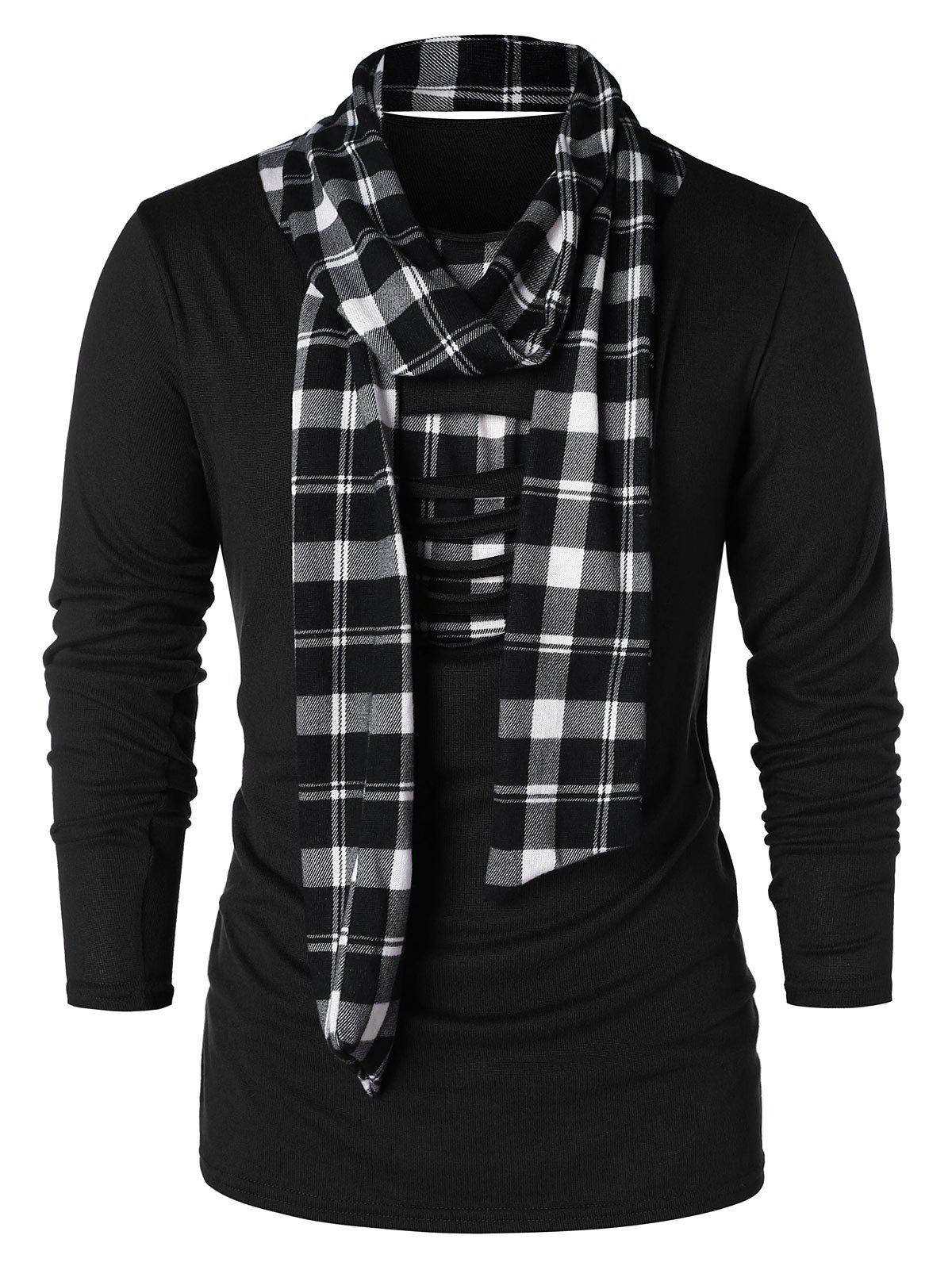 Outfits Checked Print Destroyed Scarf Collar T-shirt