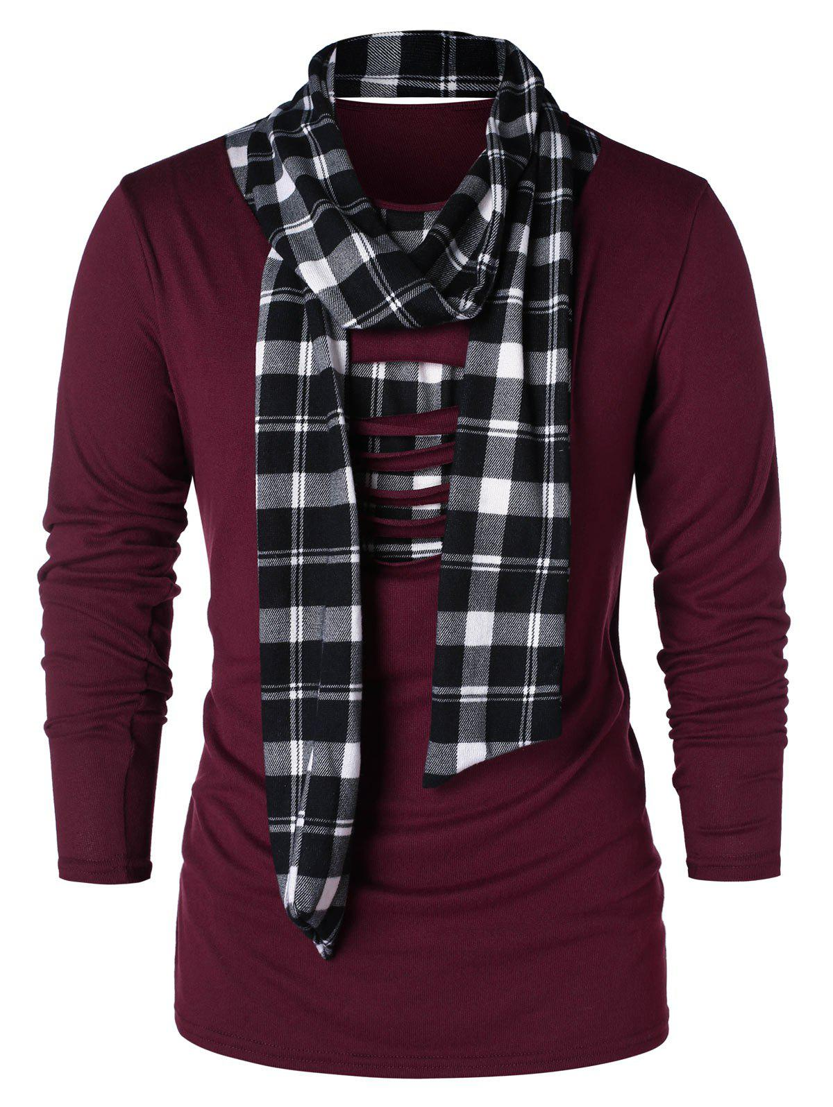 Fancy Checked Print Destroyed Scarf Collar T-shirt