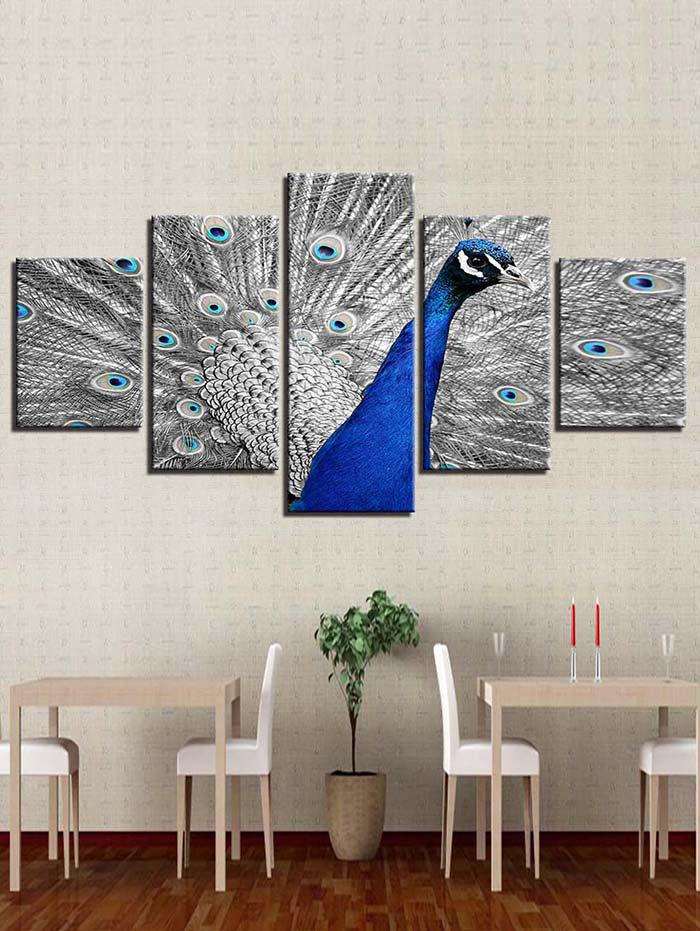 New Peacock Printed Split Unframed Canvas Paintings