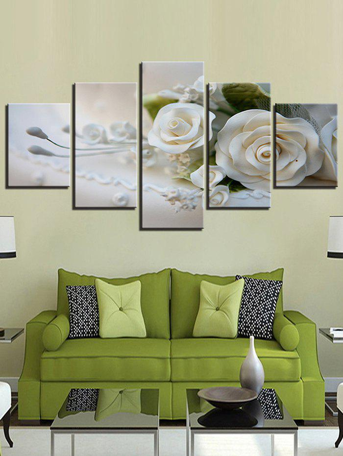 Outfit 3D Flower Print Split Unframed Canvas Paintings