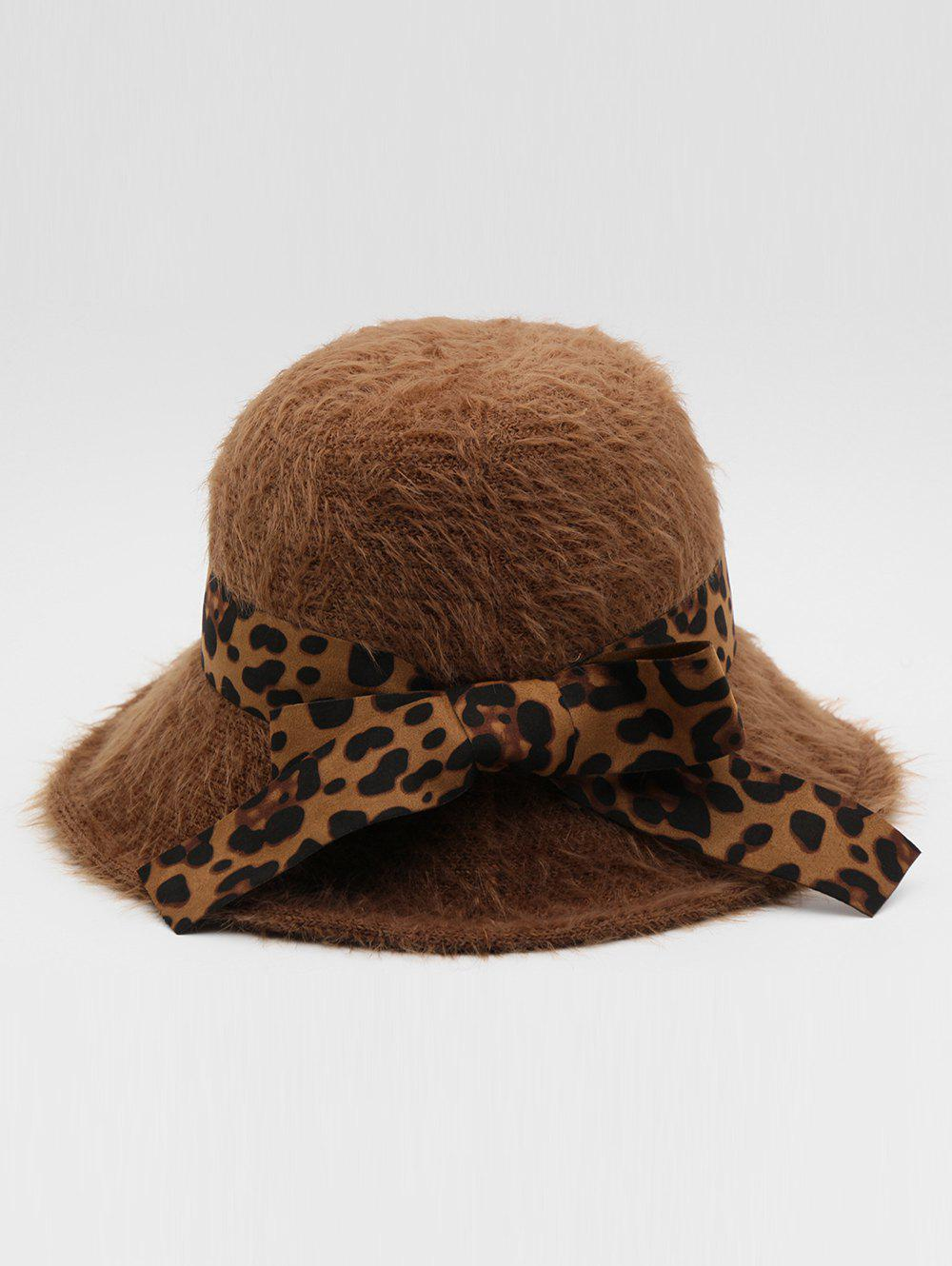 Sale British Style Leopard Bowknot Bucket Hat
