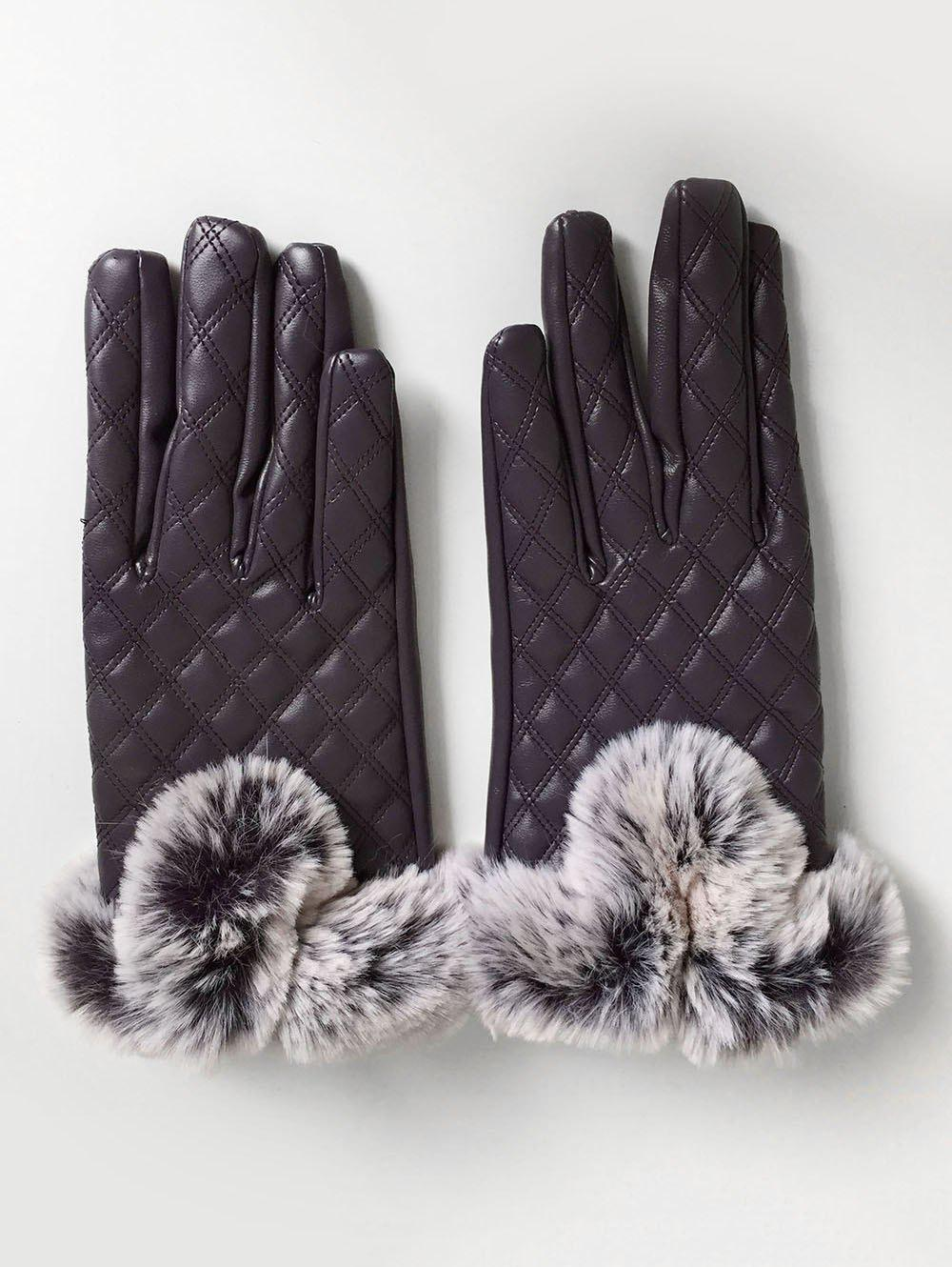 Cheap Rhombus Full Finger Faux Fur Gloves