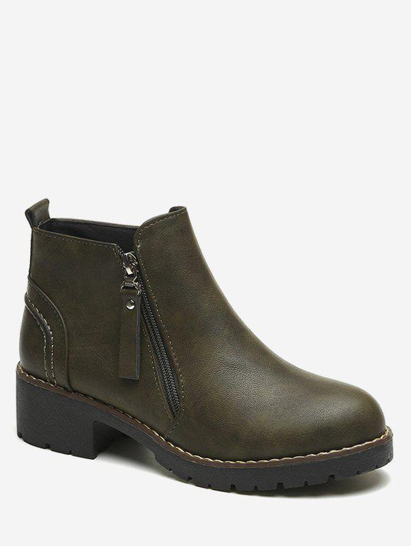 Latest Side Zip PU Leather Ankle Boots
