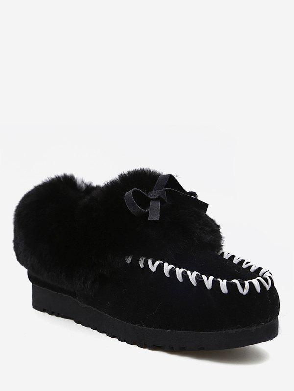 Chic Contrast Toe Faux Fur Loafer Flats