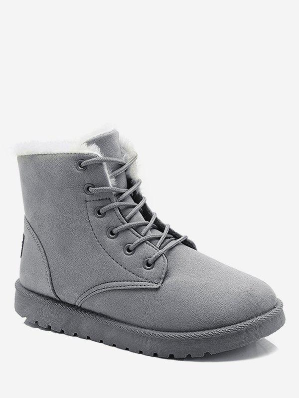 Fancy Lace Up Suede Ankle Snow Boots