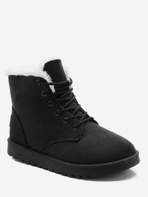 Cheap Lace Up Suede Ankle Snow Boots