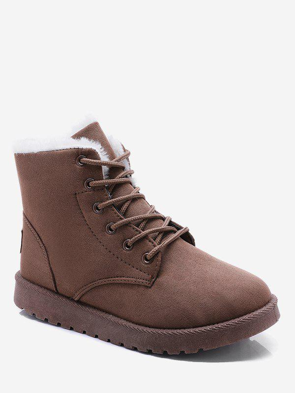 Discount Lace Up Suede Ankle Snow Boots