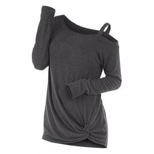Knotted Skew Neck Sweater, Dark gray