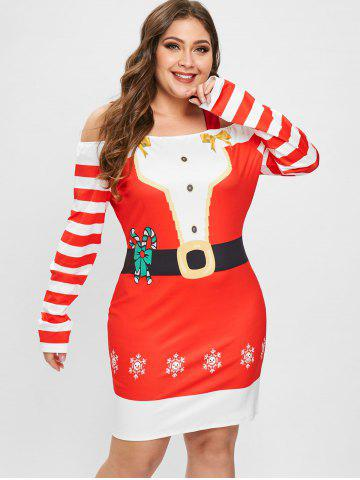 Plus Size Long Sleeves Christmas Graphic Bodycon Dress