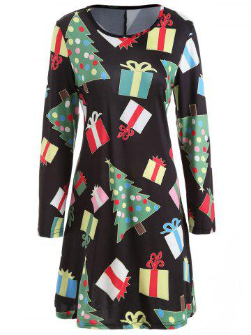 Christmas Tree Gift Print Swing Dress