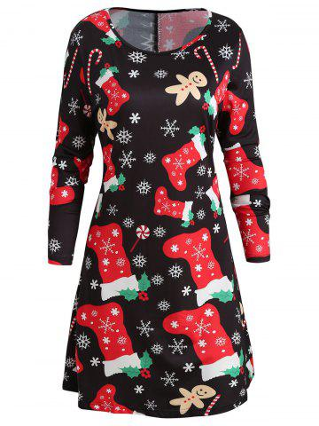 Socks Snowflake Print Christmas Swing Dress