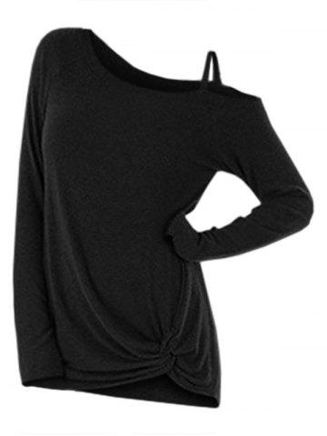 Knotted Skew Neck Sweater - BLACK - XL