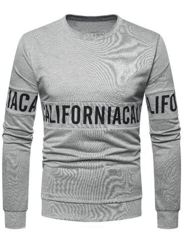 Solid Color Letter Printed Pullover Sweatshirt