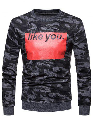 Color Block Letter Printed Camouflage Sweatshirt