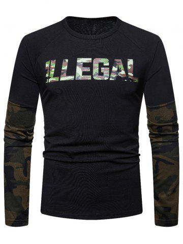 Camouflage Spliced Long Sleeve T-shirt