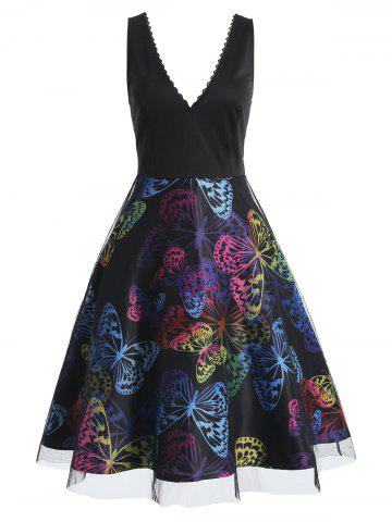 Butterfly Print High Waist A Line Dress