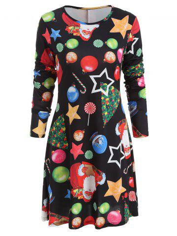 Christmas Star Print Trapeze Dress